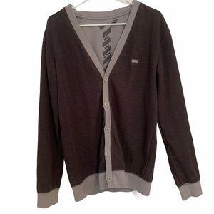 Vans Sweater Cardigan Button Up Long Sleeve Gray